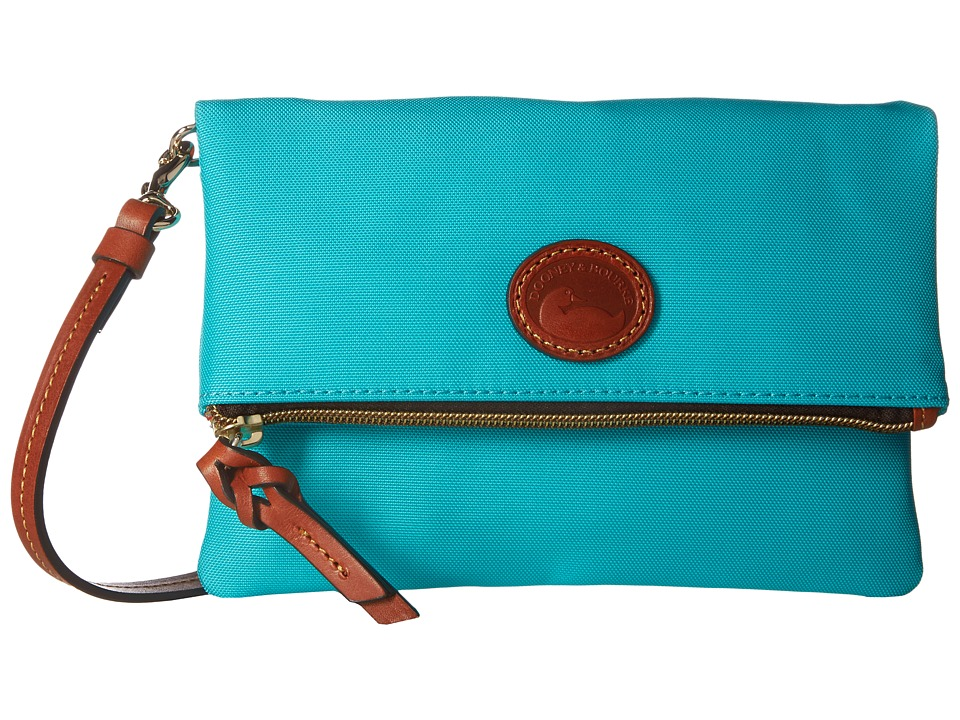 Dooney & Bourke - Nylon Fold-Over Zip Crossbody (Aqua w/ Tan Trim) Handbags