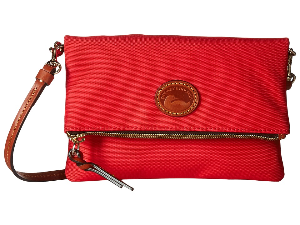Dooney & Bourke - Nylon Fold-Over Zip Crossbody (Red w/ Tan Trim) Handbags