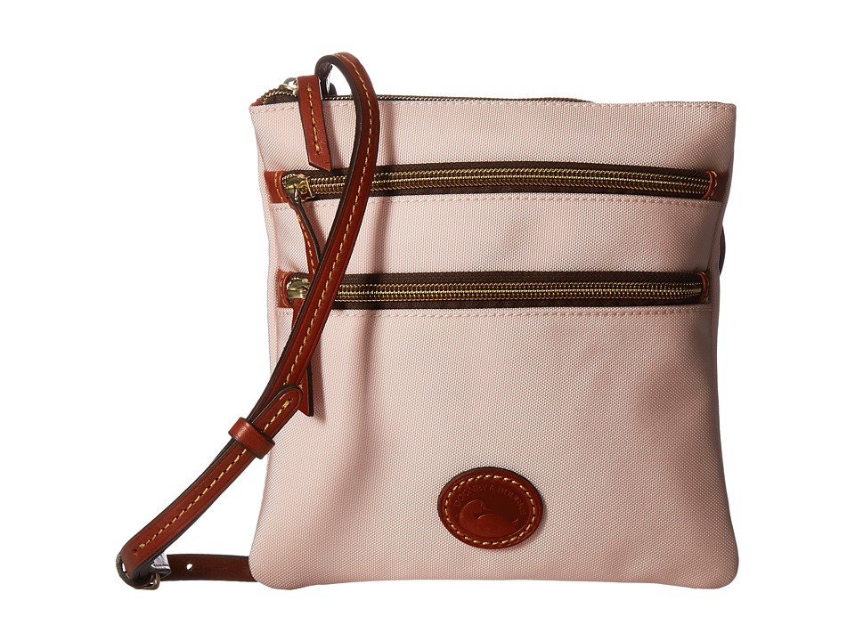 Dooney & Bourke - Nylon North/South Triple Zip (Blush w/ Tan Trim) Cross Body Handbags