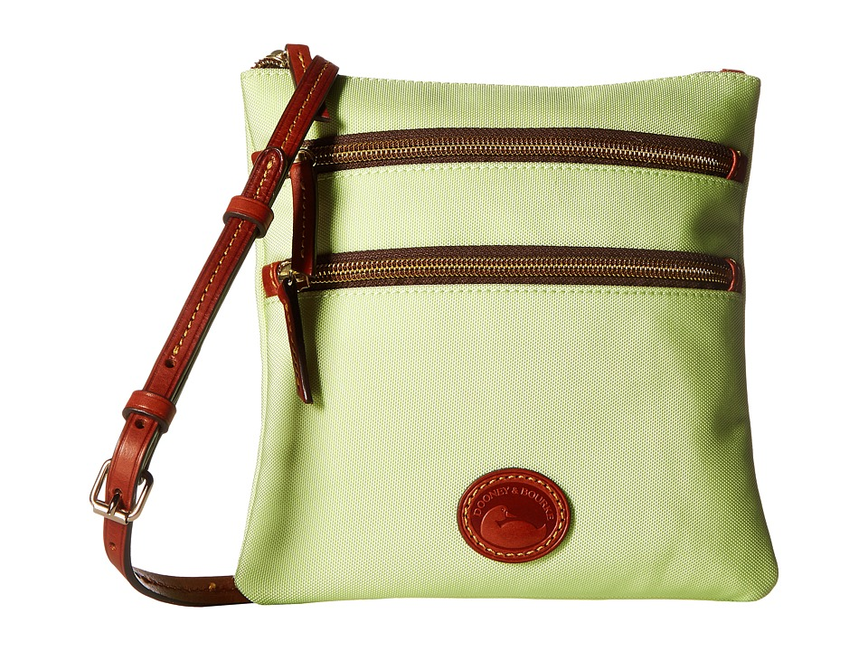 Dooney & Bourke - Nylon North/South Triple Zip (Key Lime w/ Tan Trim) Cross Body Handbags