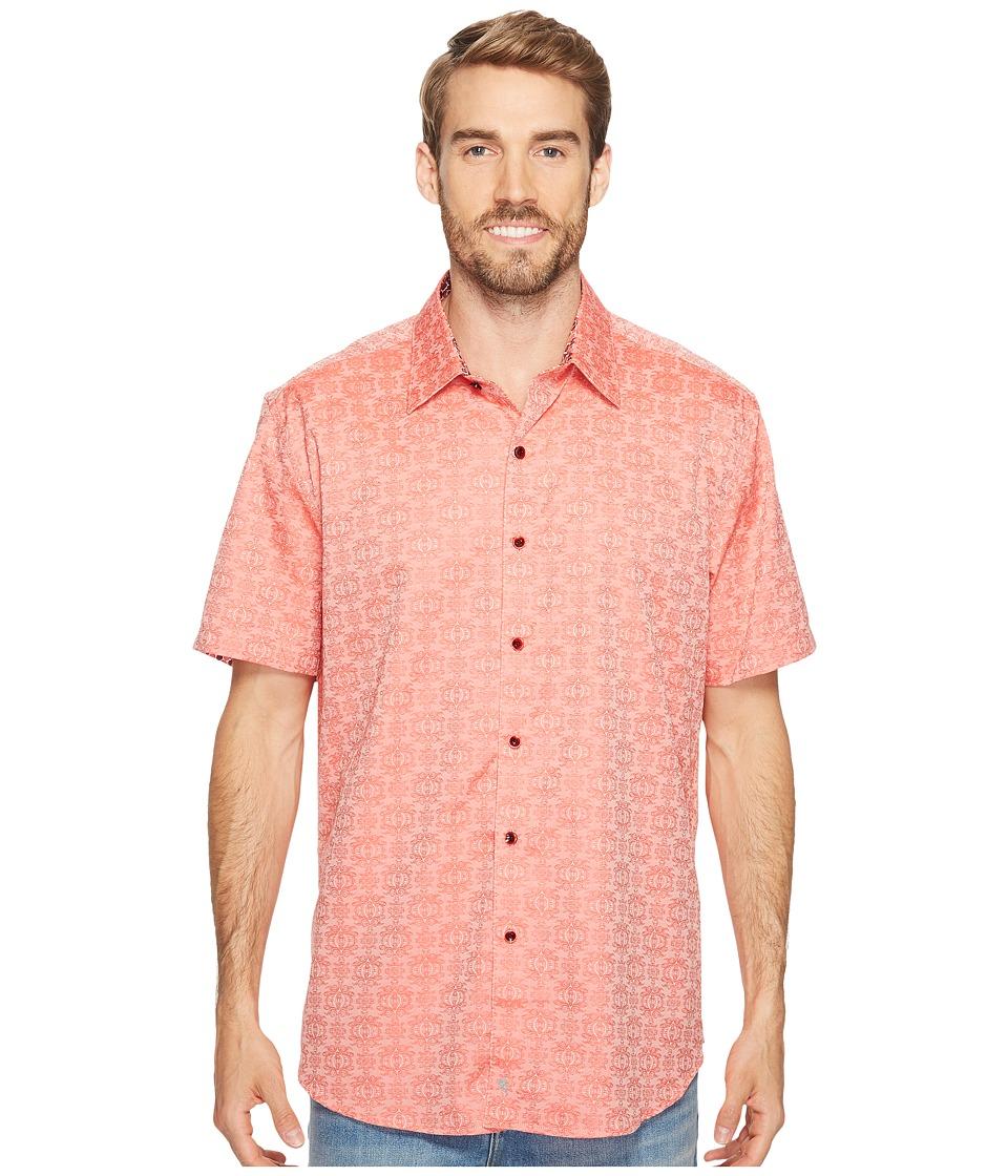 Robert Graham - Cullen Short Sleeve Woven Shirt (Coral) Men's T Shirt