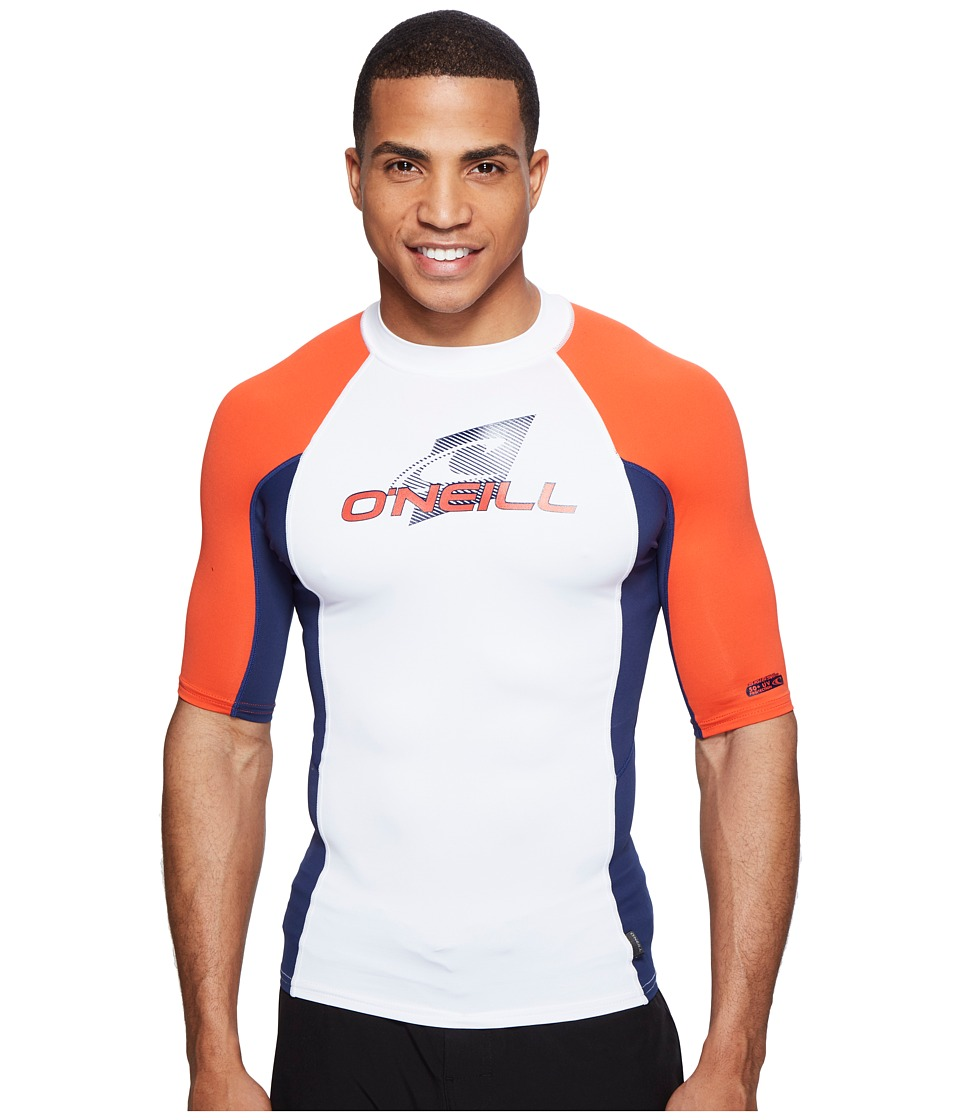 O'Neill - Skins S/S Crew (White/Navy/Neon Red) Men's Swimwear