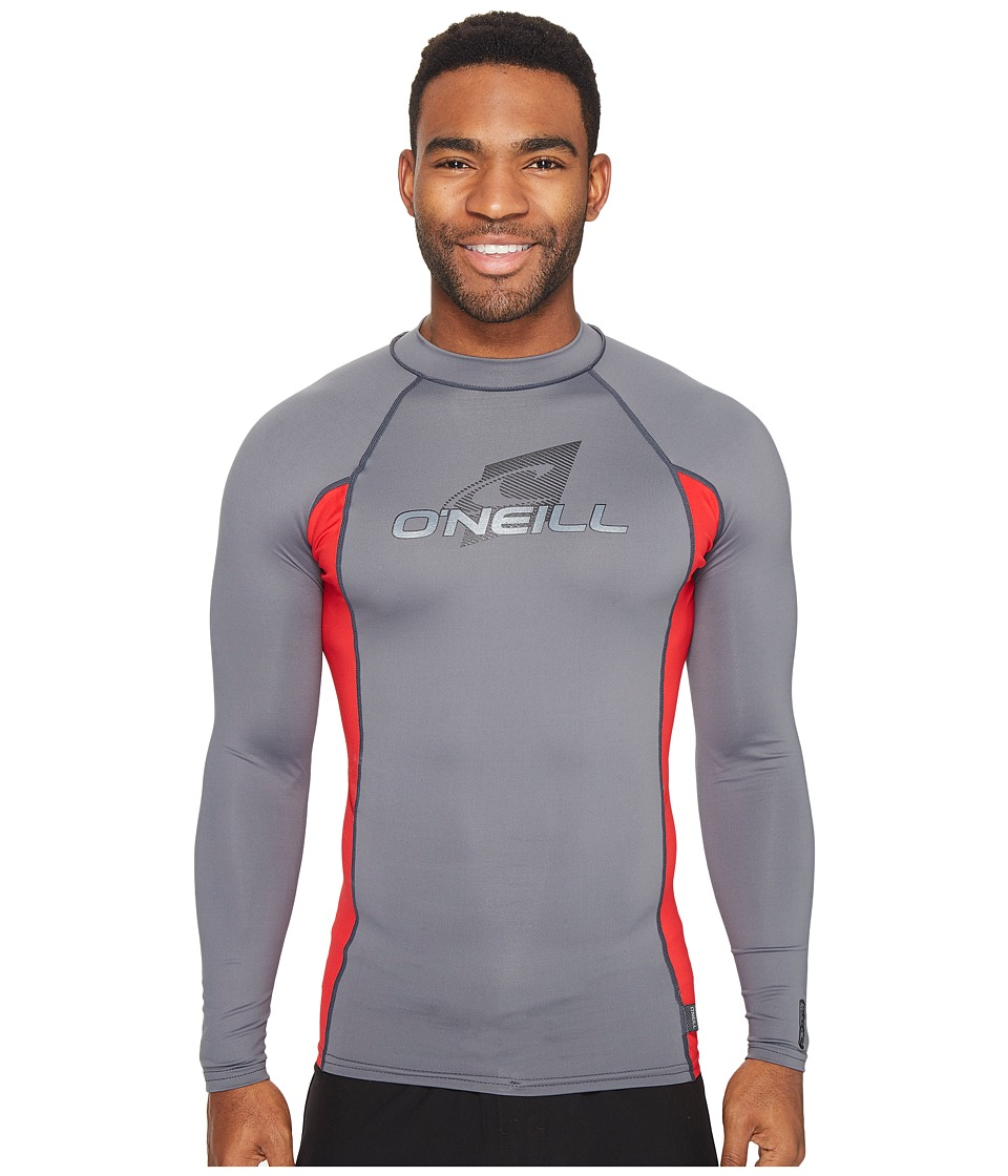 O'Neill - Skins L/S Crew (Graphite/Red/Graphite) Men's Swimwear