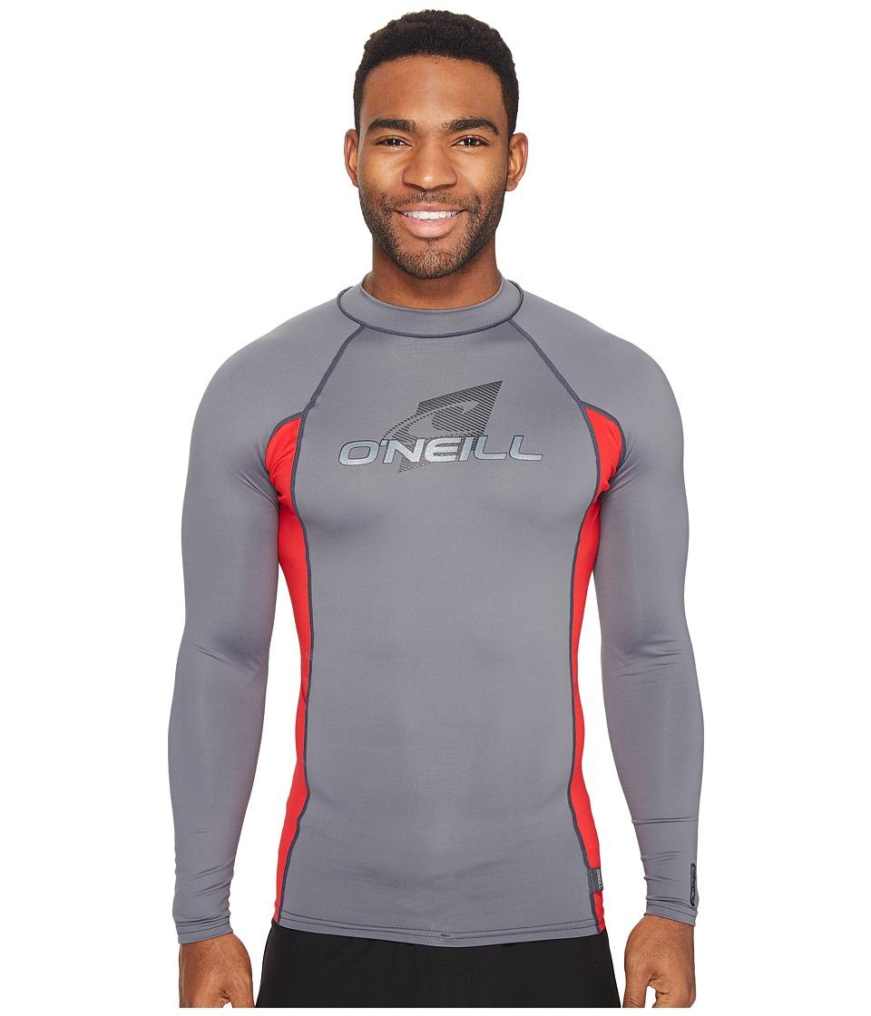 O'Neill - Skins L/S Crew (Graphite/Red/Graphite) Men's Swimwear