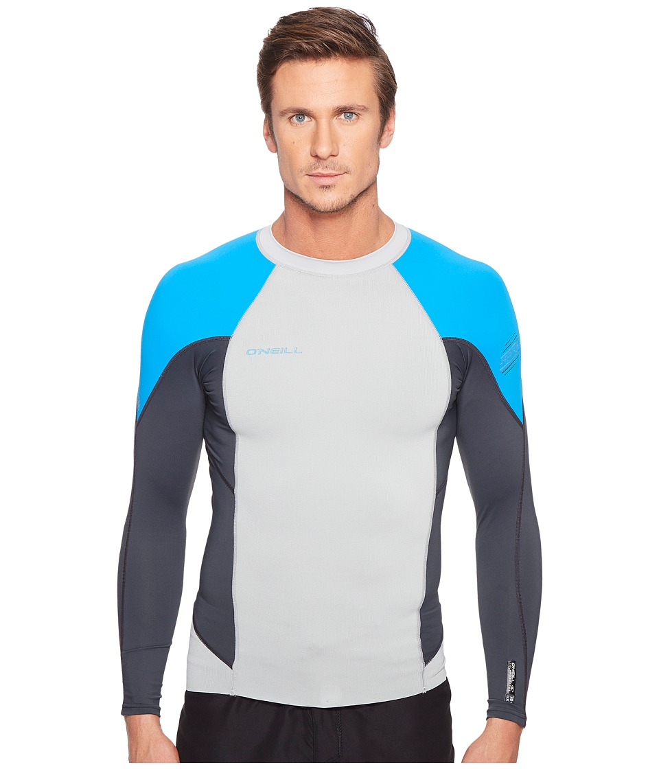 O'Neill - Hyperfreak Neo/Skins Long Sleeve Crew (Cool Grey/Graphite/Brite Blue) Men's Swimwear