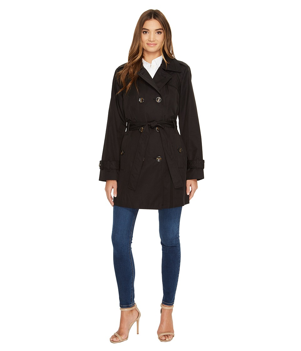 London Fog - Quilt Shoulder Trench Coat (Black) Women's Coat