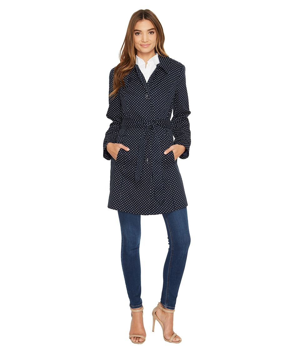 London Fog - Dot Trench Coat (Navy) Women's Coat