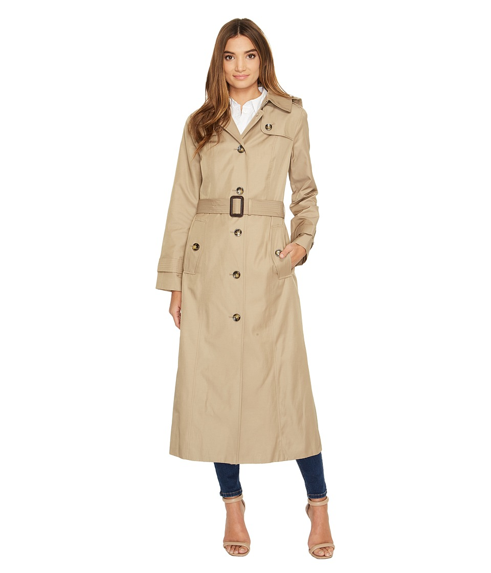 London Fog - Long Single Breasted Trench Coat (Khaki) Women's Coat