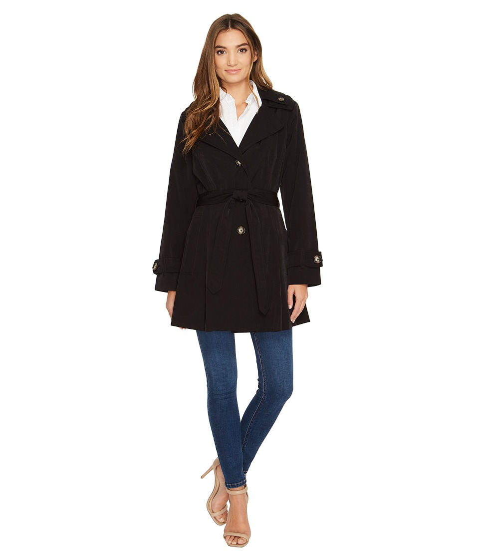 London Fog - Double Collar Trench Coat (Black) Women's Coat