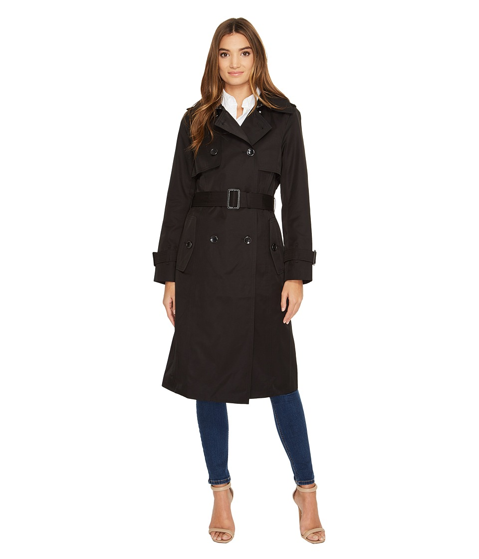 London Fog - Double Breasted Trench Coat (Black) Women's Coat
