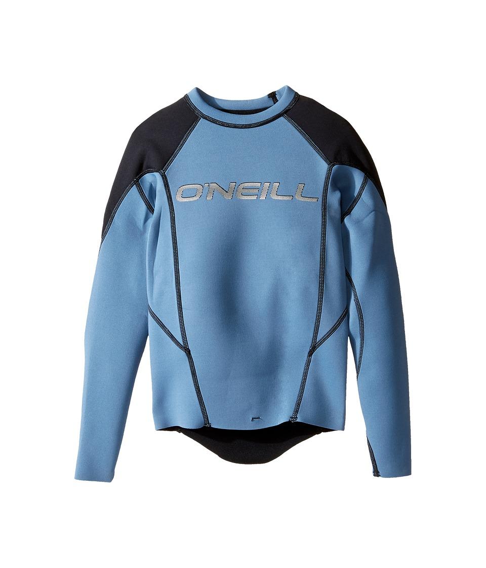 O'Neill Kids - Hammer Long Sleeve Crew (Little Kids/Big Kids) (Dusty Blue/Black/Neon Red) Kid's Swimwear