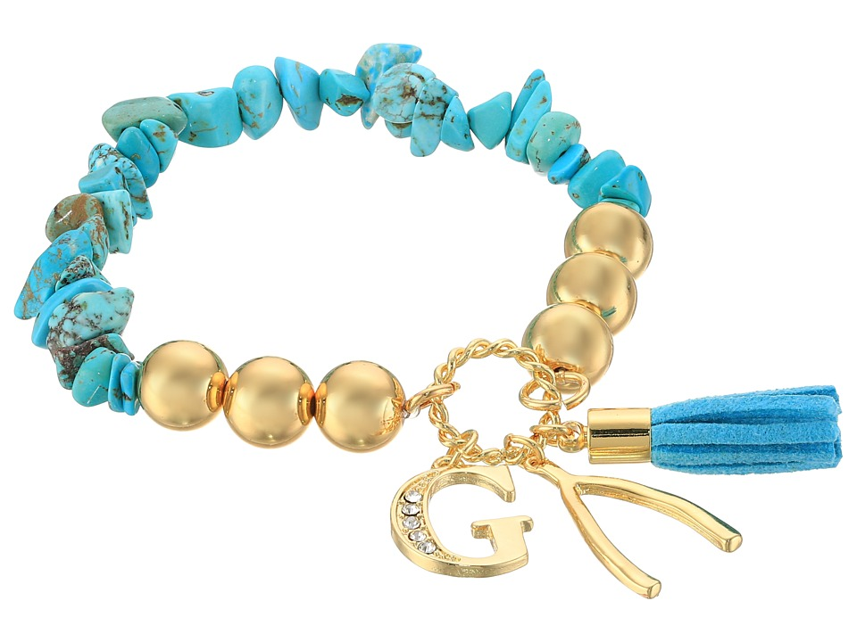 GUESS - Stretch Bracelet with G, Wishbone and Tassel (Gold/Crystal/Turquoise) Bracelet