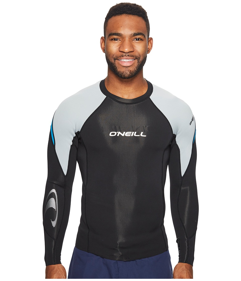 O'Neill - Hammer 0.5mm Long Sleeve Crew (Black/Cool Grey/Brite Blue) Men's Swimwear