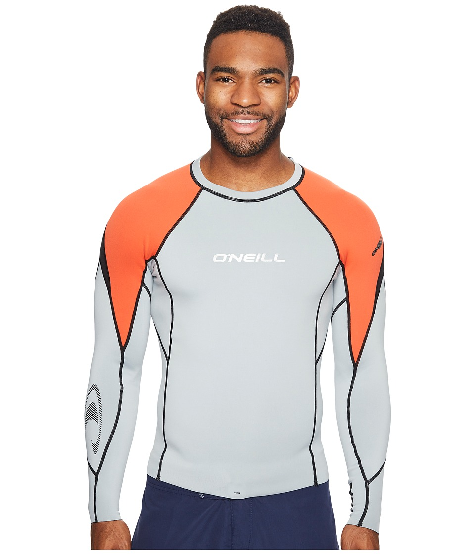 O'Neill - Hammer 0.5mm Long Sleeve Crew (Cool Grey/Neon Red/Black) Men's Swimwear