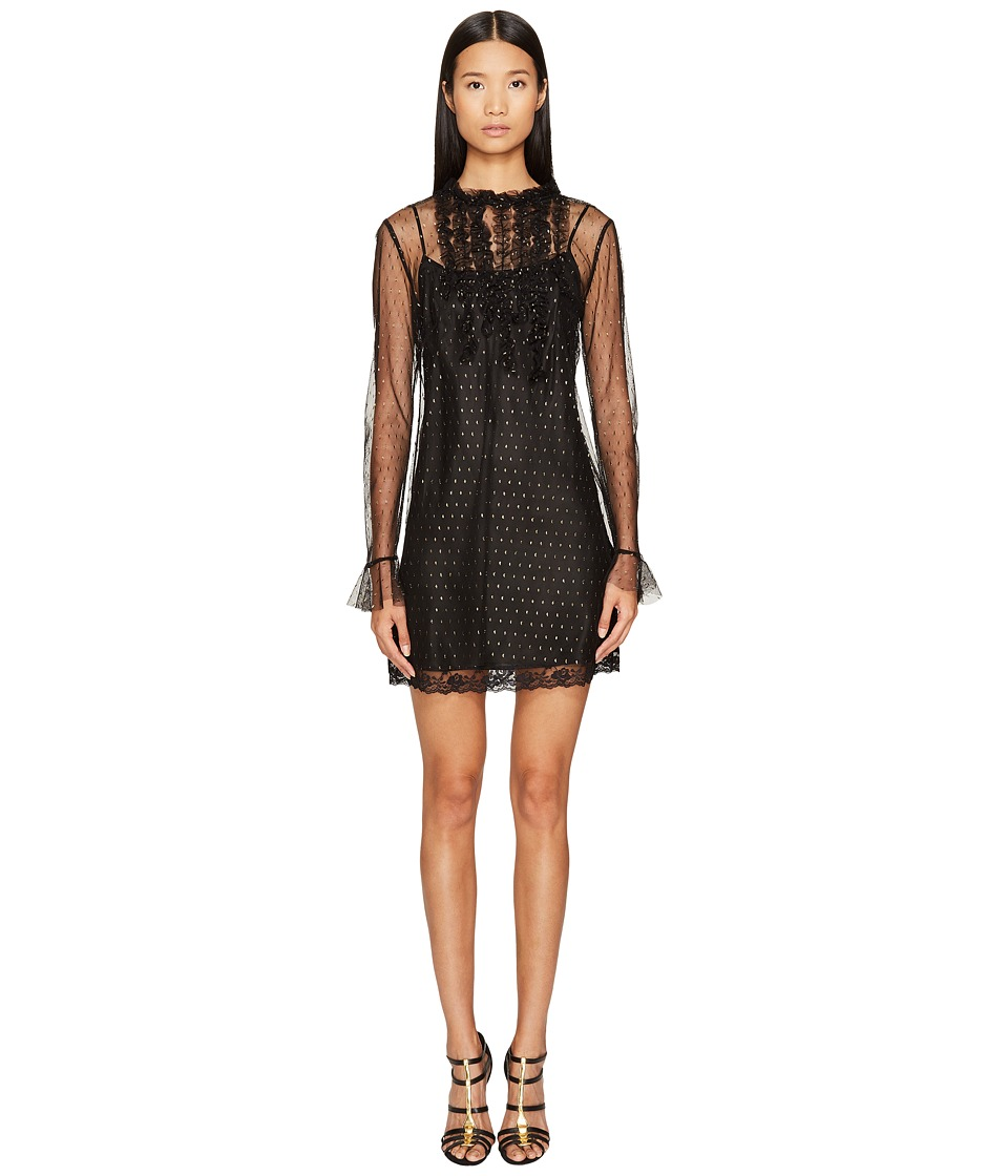Sonia Rykiel - Short Sleeve Plumetis Dress with Frills (Black) Women's Dress