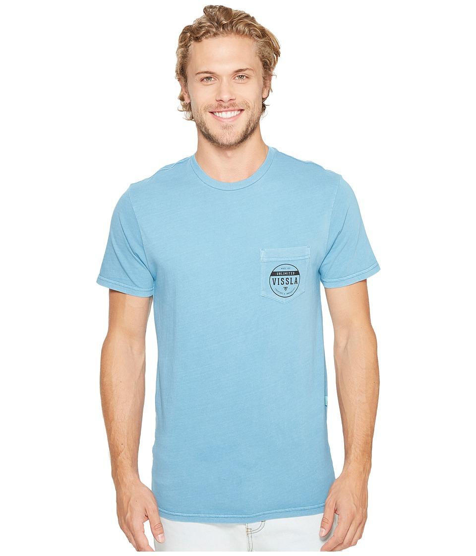 VISSLA - Steadfast Pigment Dye Short Sleeve Tee (Blue Fog) Men's T Shirt