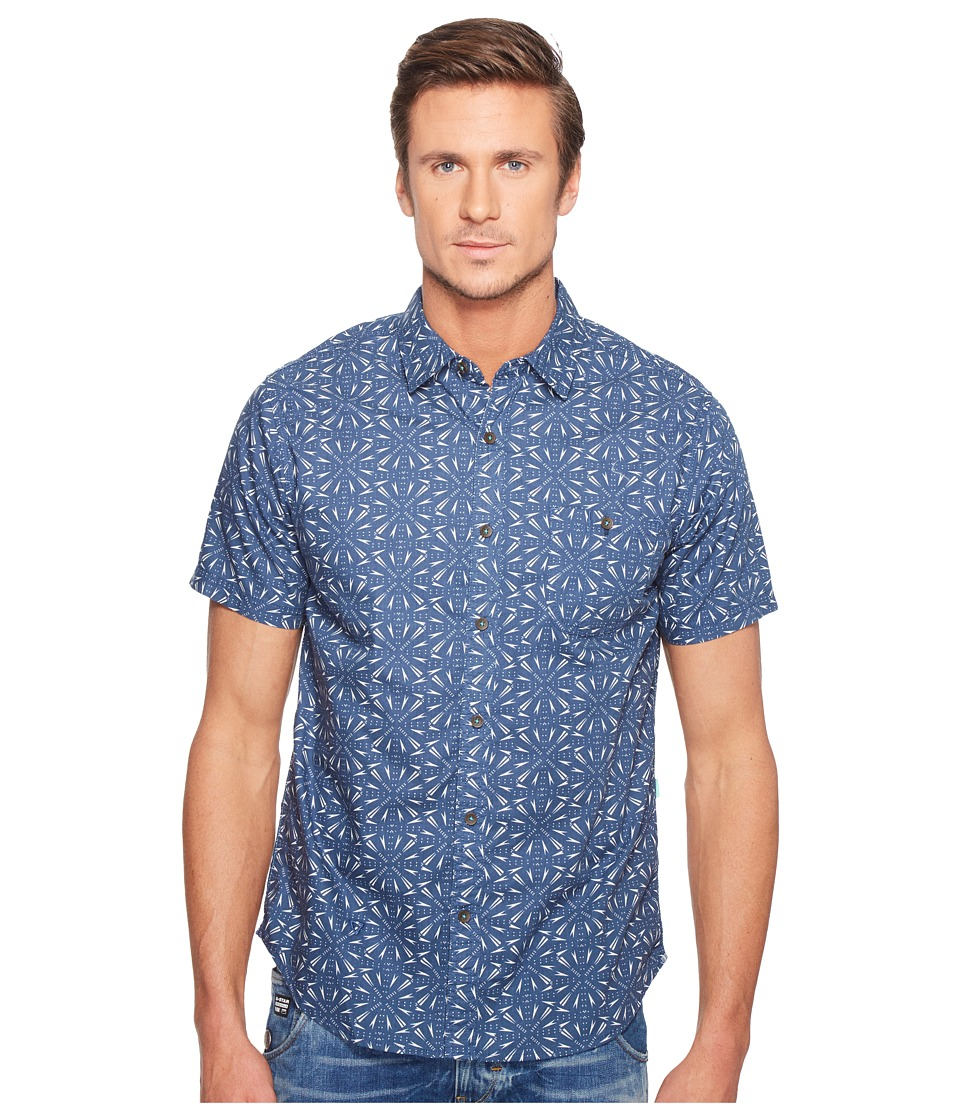 VISSLA - Shielded Short Sleeve Printed Woven (Strong Blue) Men's Clothing
