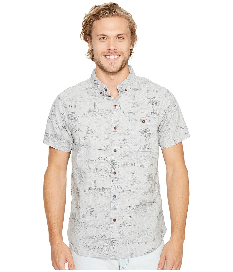 VISSLA - Global Stoke Short Sleeve Printed Woven (Grey Heather) Men's Clothing