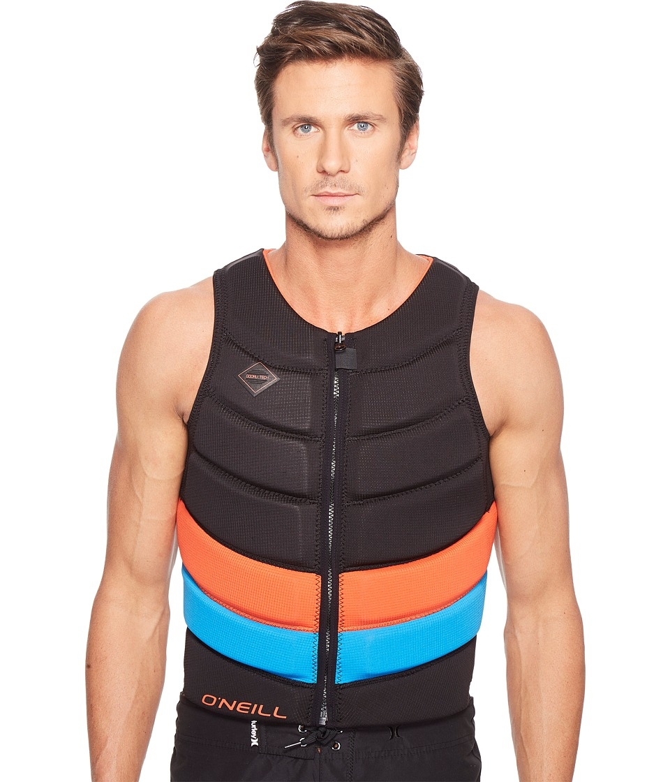 O'Neill - Gooru Tech Front Zip Comp Vest (Black/Neon Red/Brite Blue) Men's Swimwear
