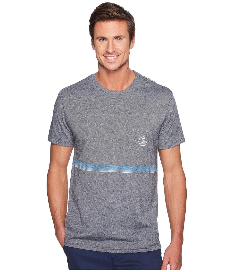 VISSLA - Dredger Short Sleeve Pocket Knit Tee (Black Heather) Men's T Shirt