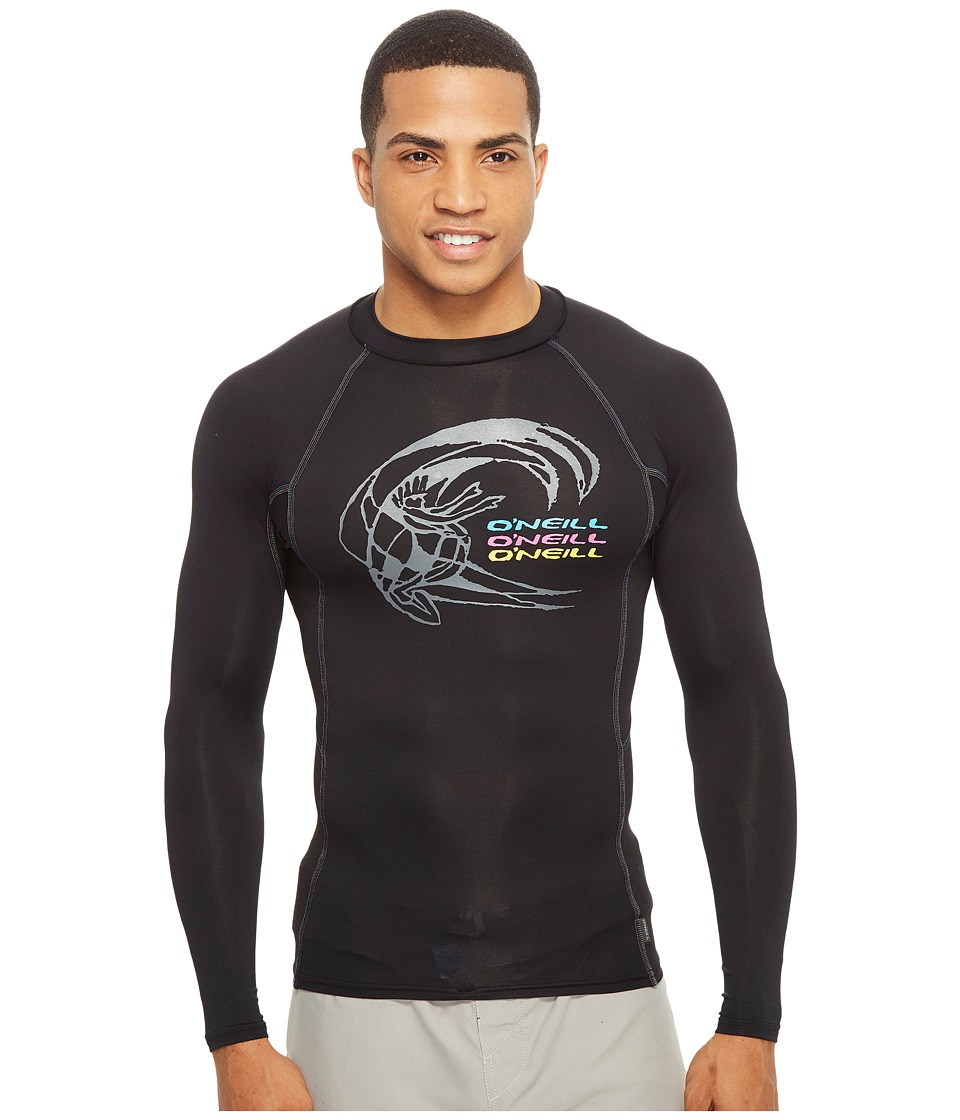 O'Neill - Skins Graphic Long Sleeve Crew (Black/Black/Black) Men's Swimwear