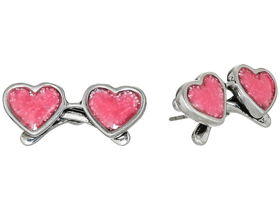 Marc Jacobs - Heart Sunglasses Studs Earrings (Antique Silver) Earring