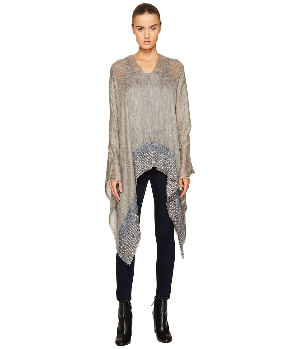 rag & bone - Textured Stripe Poncho (Charcoal) Scarves
