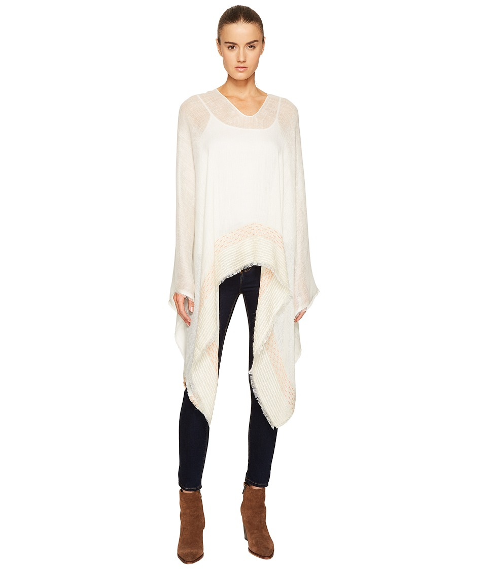 rag & bone - Textured Stripe Poncho (White Multi) Scarves