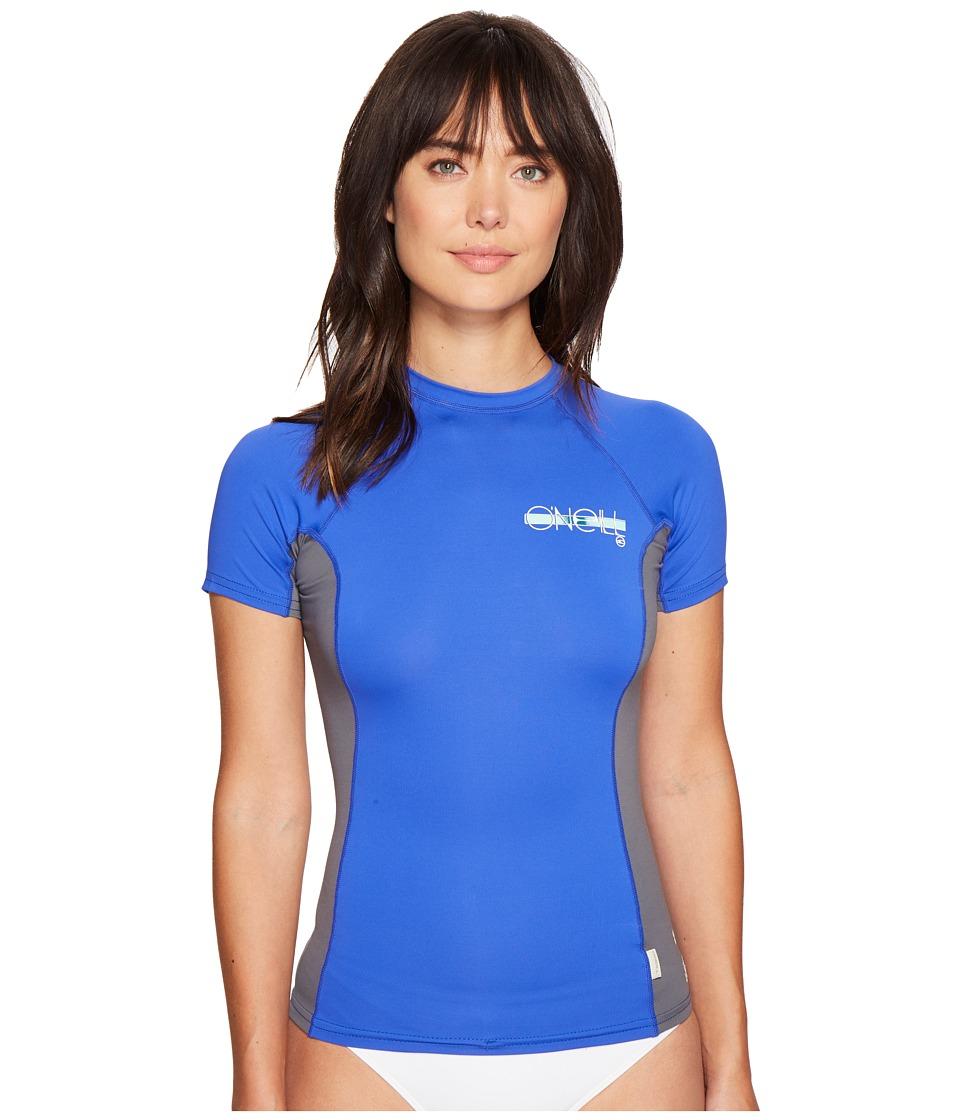 O'Neill - Skins S/S Crew (Tahitian Blue/Graphite/Tahitian Blue) Women's Swimwear