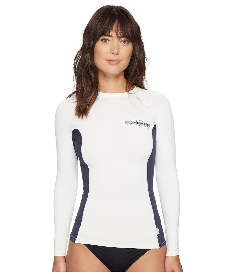 O'Neill - Skins L/S Crew (Vanilla/Slate/Vanilla) Women's Swimwear