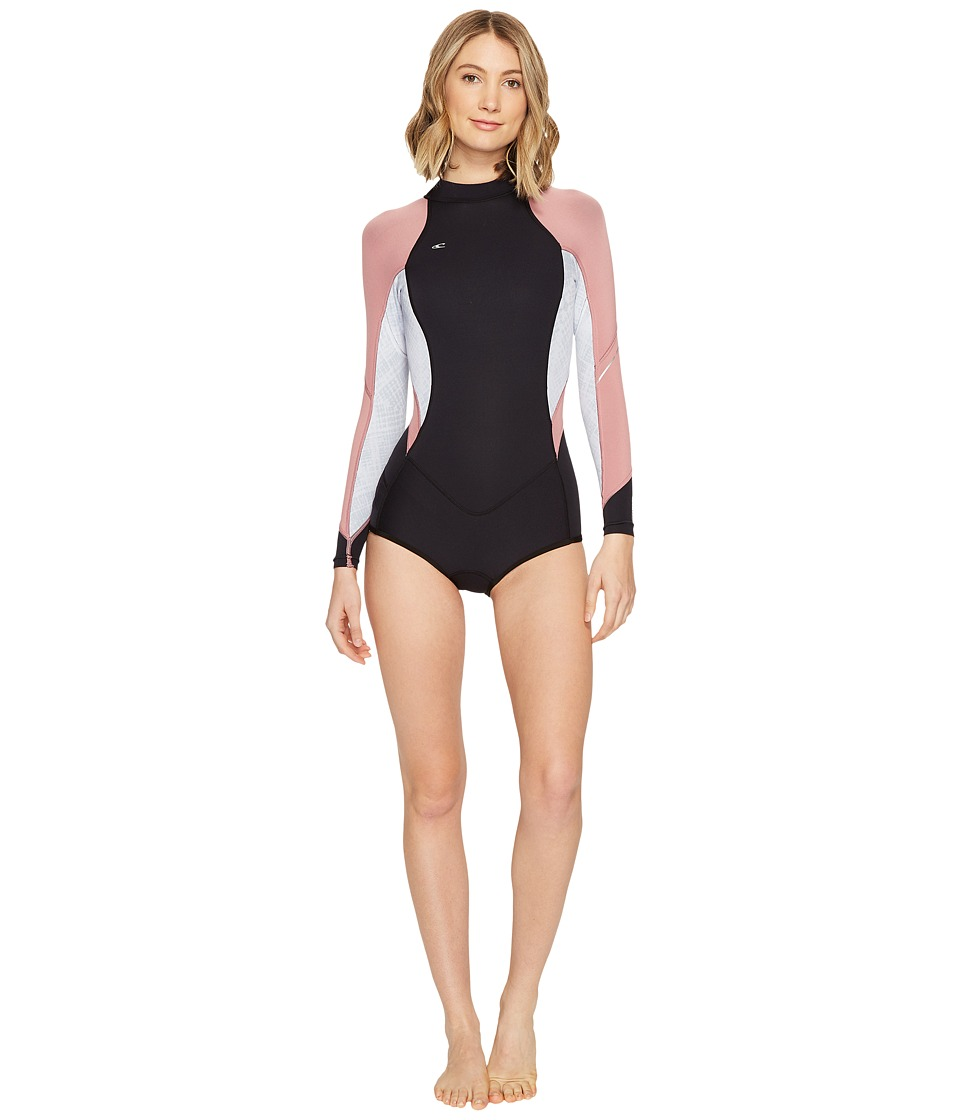 O'Neill - Bahia Long Sleeve Shorts Spring (Black/Vida/Mesa Rose) Women's Wetsuits One Piece