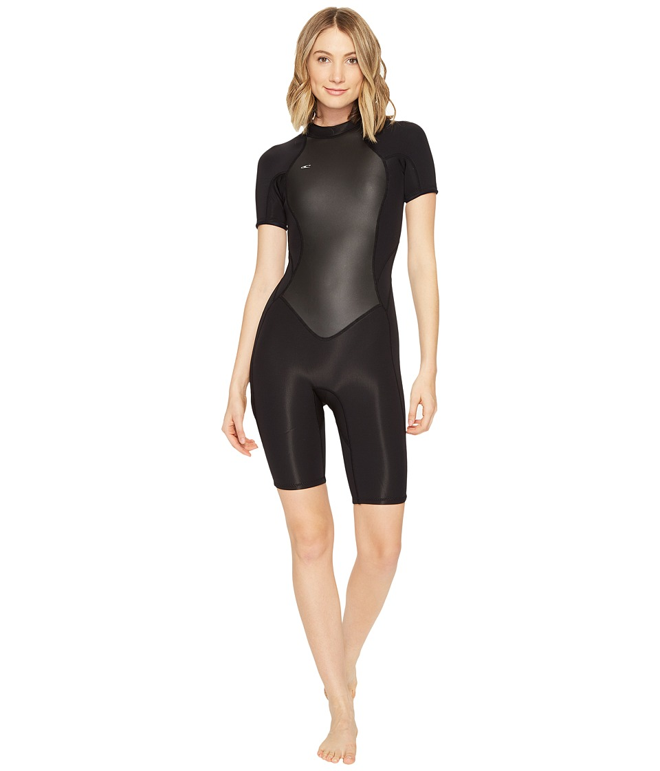 O'Neill - Bahia Short Sleeve Spring (Black/Black/Black) Women's Wetsuits One Piece