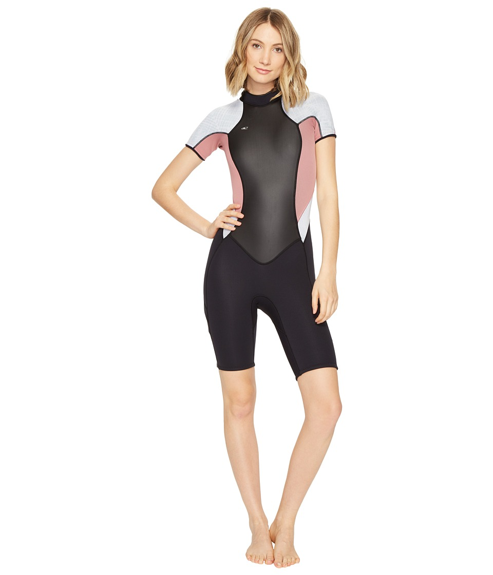 O'Neill - Bahia Short Sleeve Spring (Black/Mesa Rose/Vida) Women's Wetsuits One Piece