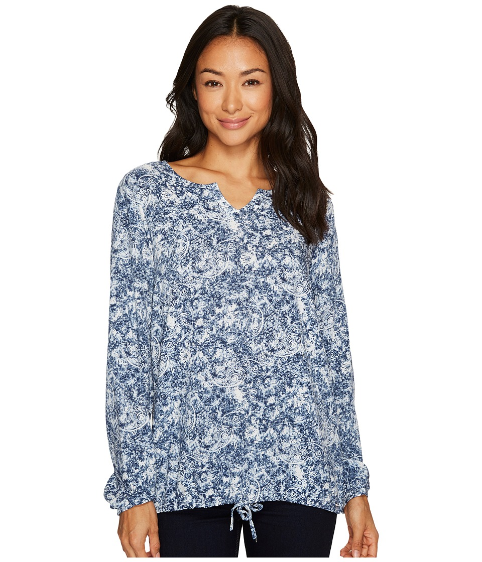 FDJ French Dressing Jeans - Paisley Popover Long Sleeve Blouse (Indigo) Women's Blouse