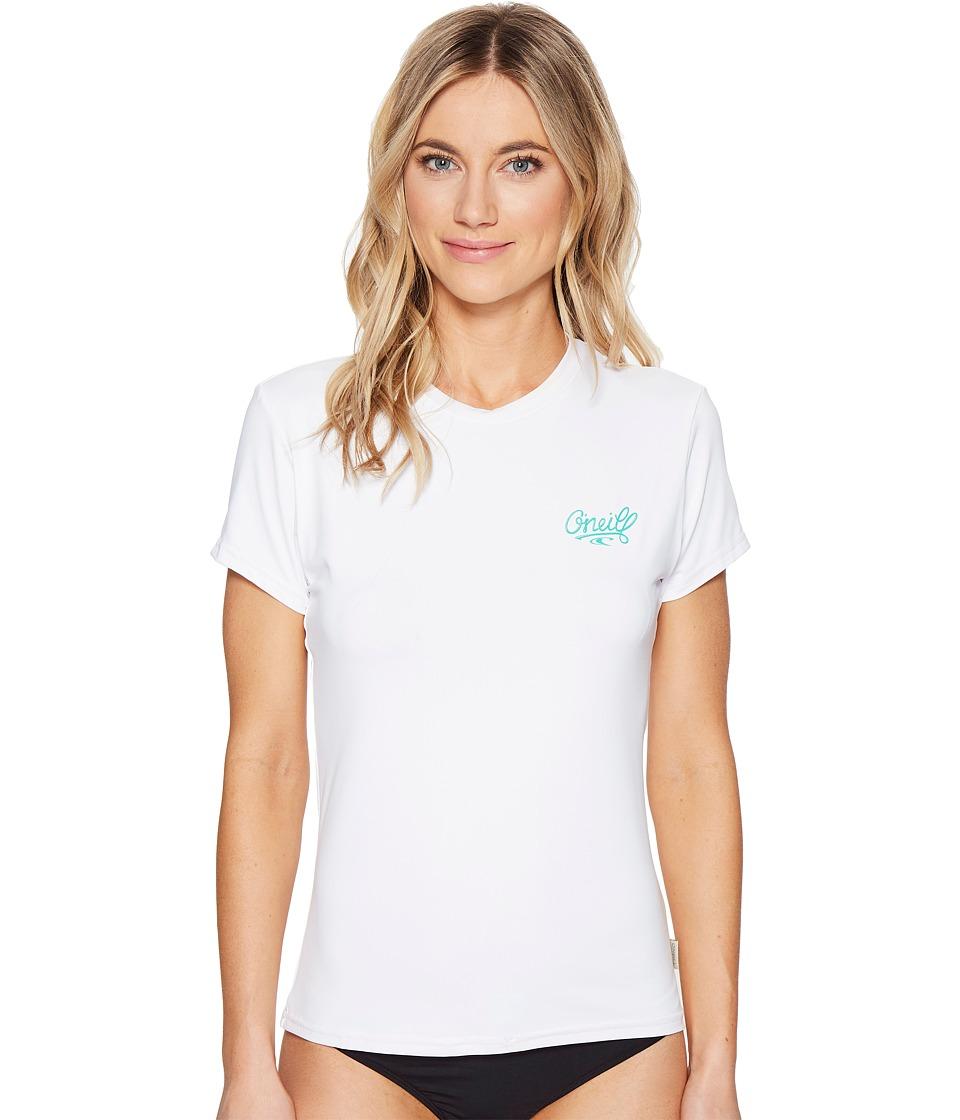 O'Neill - Skins Short Sleeve Rash Tee (White) Women's Swimwear