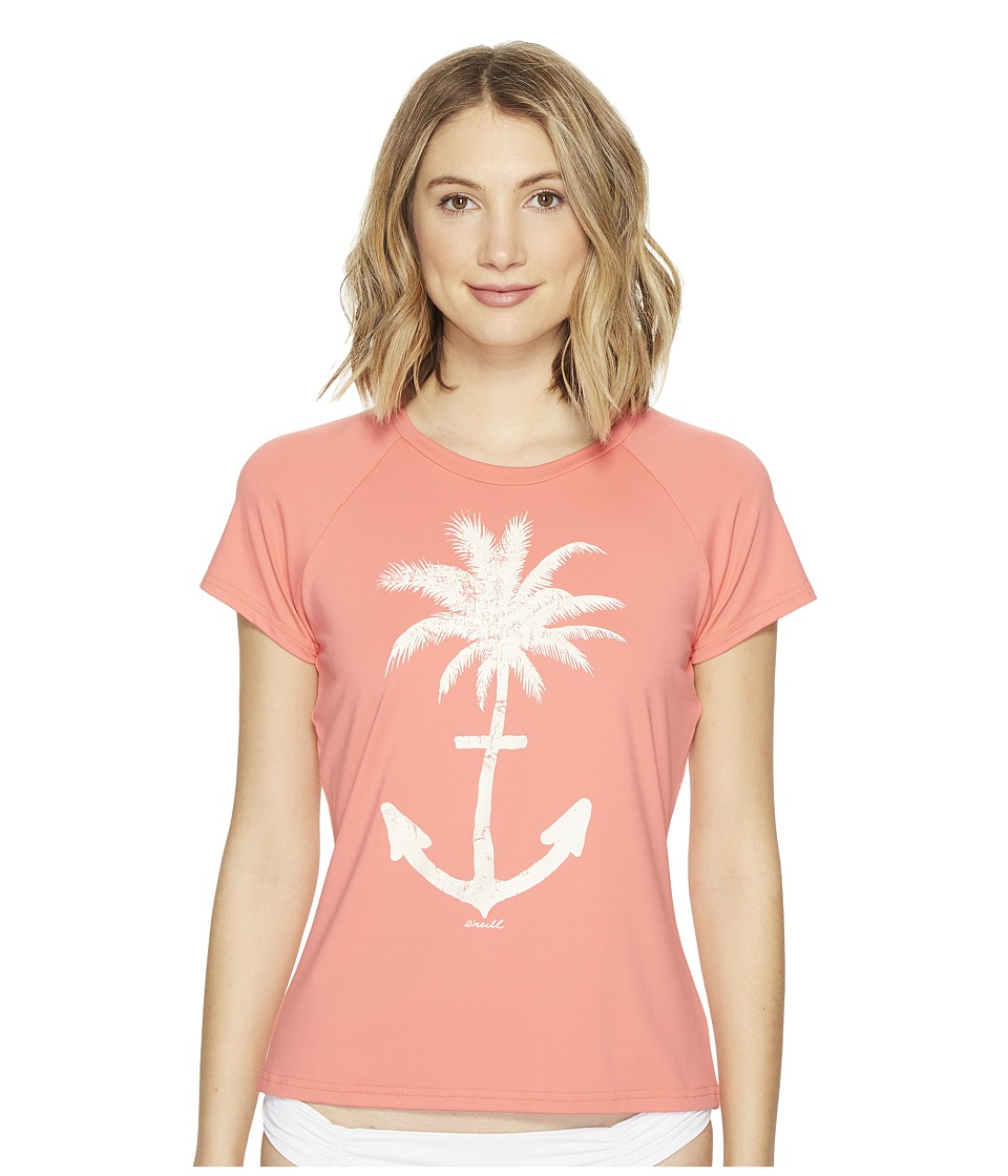 O'Neill - Graphic Short Sleeve Rash Tee (Coral) Women's Swimwear