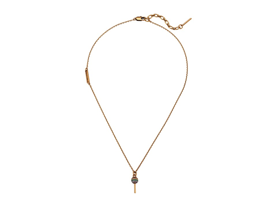 Marc Jacobs - Tiny Lollipop Pendant Necklace (Antique Gold) Necklace