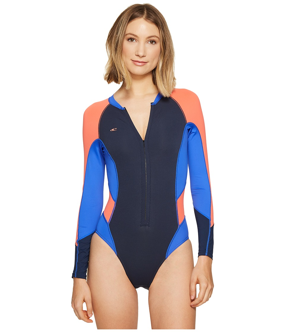 O'Neill - Superlite Hi-Cut Long Sleeve Spring (Slate/Tahitian Blue/Coral) Women's Wetsuits One Piece