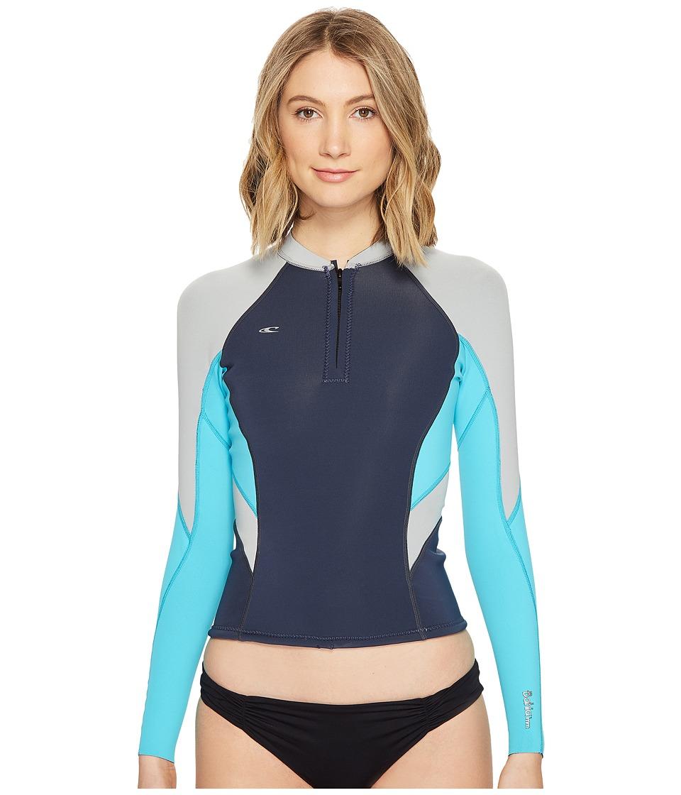 O'Neill - Bahia Front Zip 1mm Jacket (Slate/Lite Aqua/Cool Grey) Women's Swimwear
