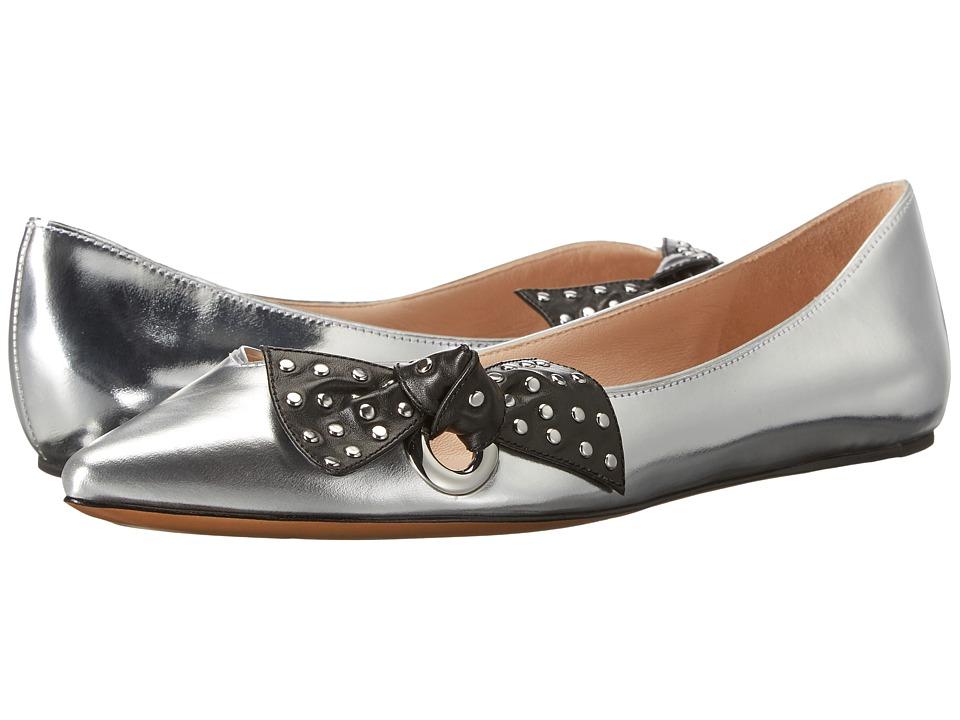 Marc Jacobs Rita Pointy Toe Ballerina (Silver Metallic Leather) Women