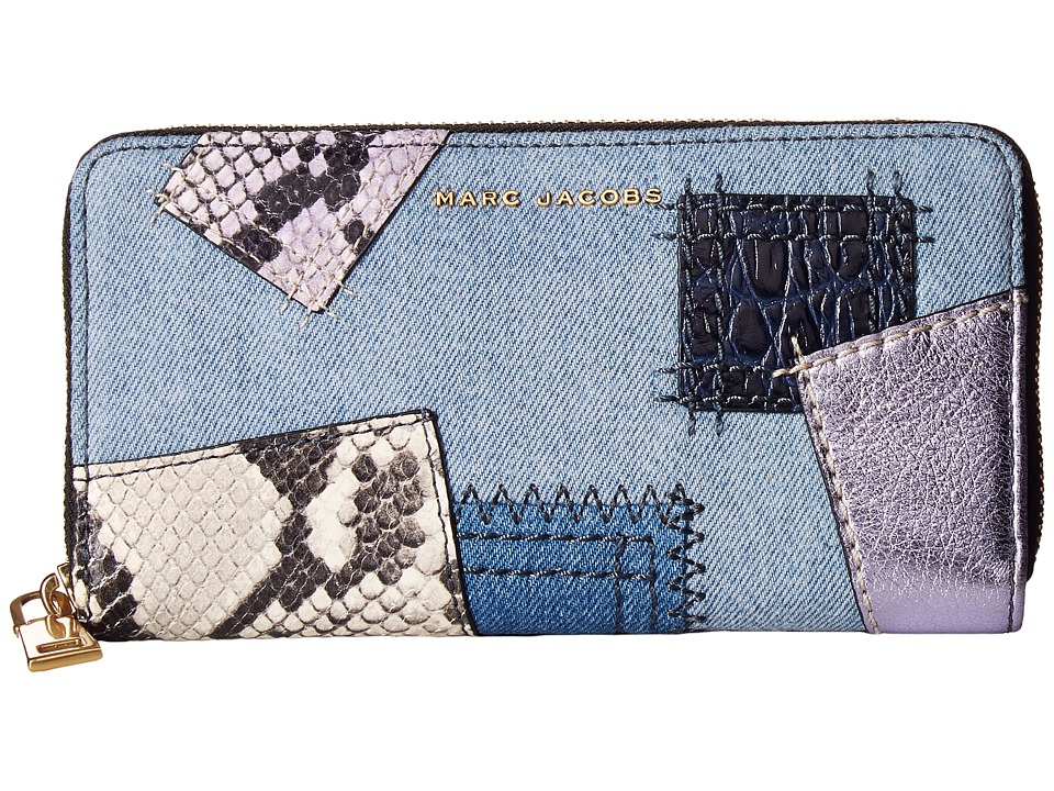 Marc Jacobs - Denim Patchwork Standard Continental Wallet (Denim Multi) Wallet Handbags