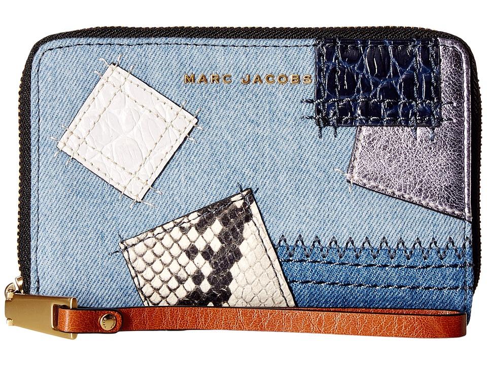 Marc Jacobs - Denim Patchwork Zip Phone Wristlet (Denim Multi) Wristlet Handbags