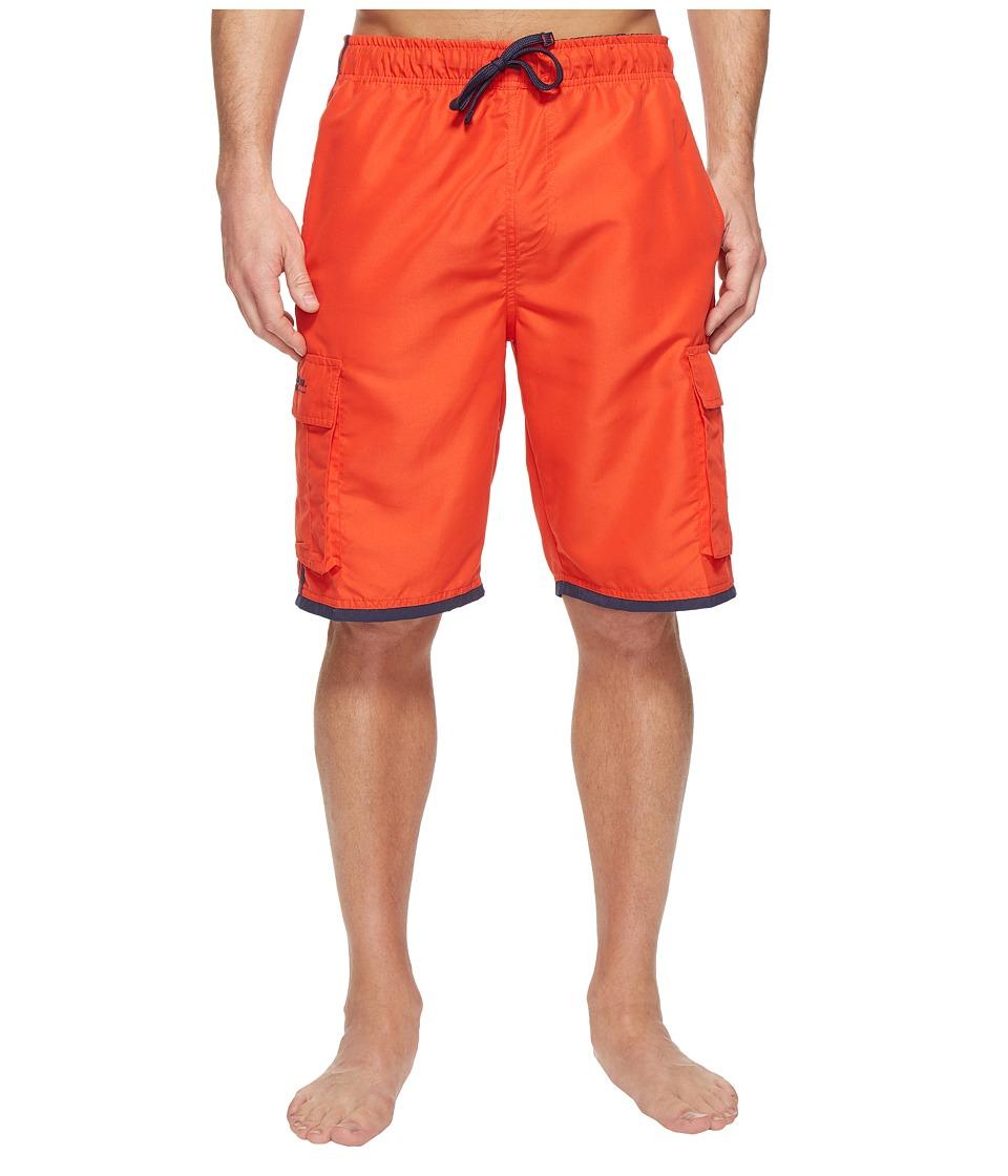 U.S. POLO ASSN. - 11 Double Side Stripe Cargo (Crimson Fire) Men's Swimwear