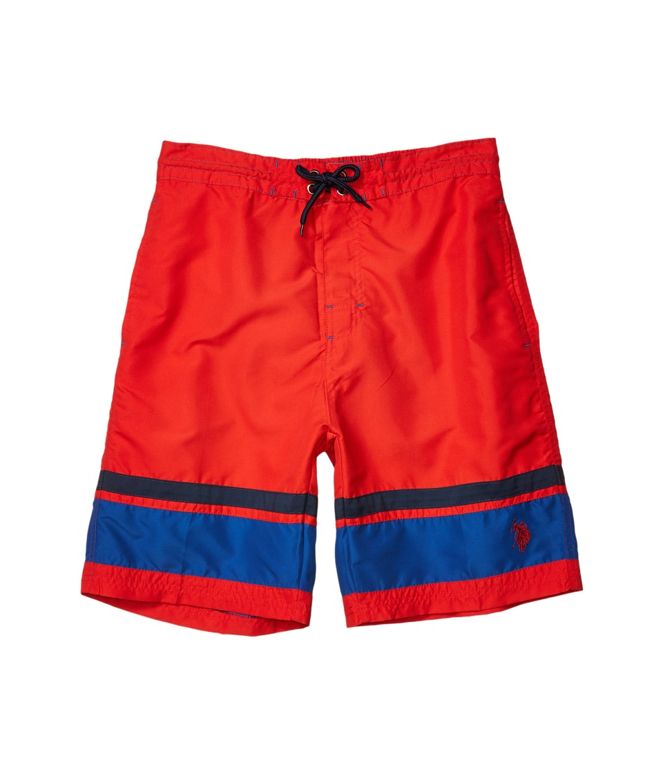 U.S. POLO ASSN. - Color Block Microfibre Swim Shorts (Engine Red) Men's Swimwear