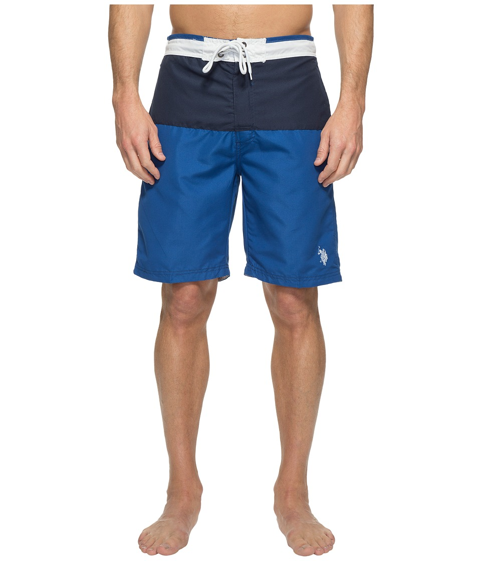 U.S. POLO ASSN. - Color Block Microfibre Swim Shorts (China Blue) Men's Swimwear