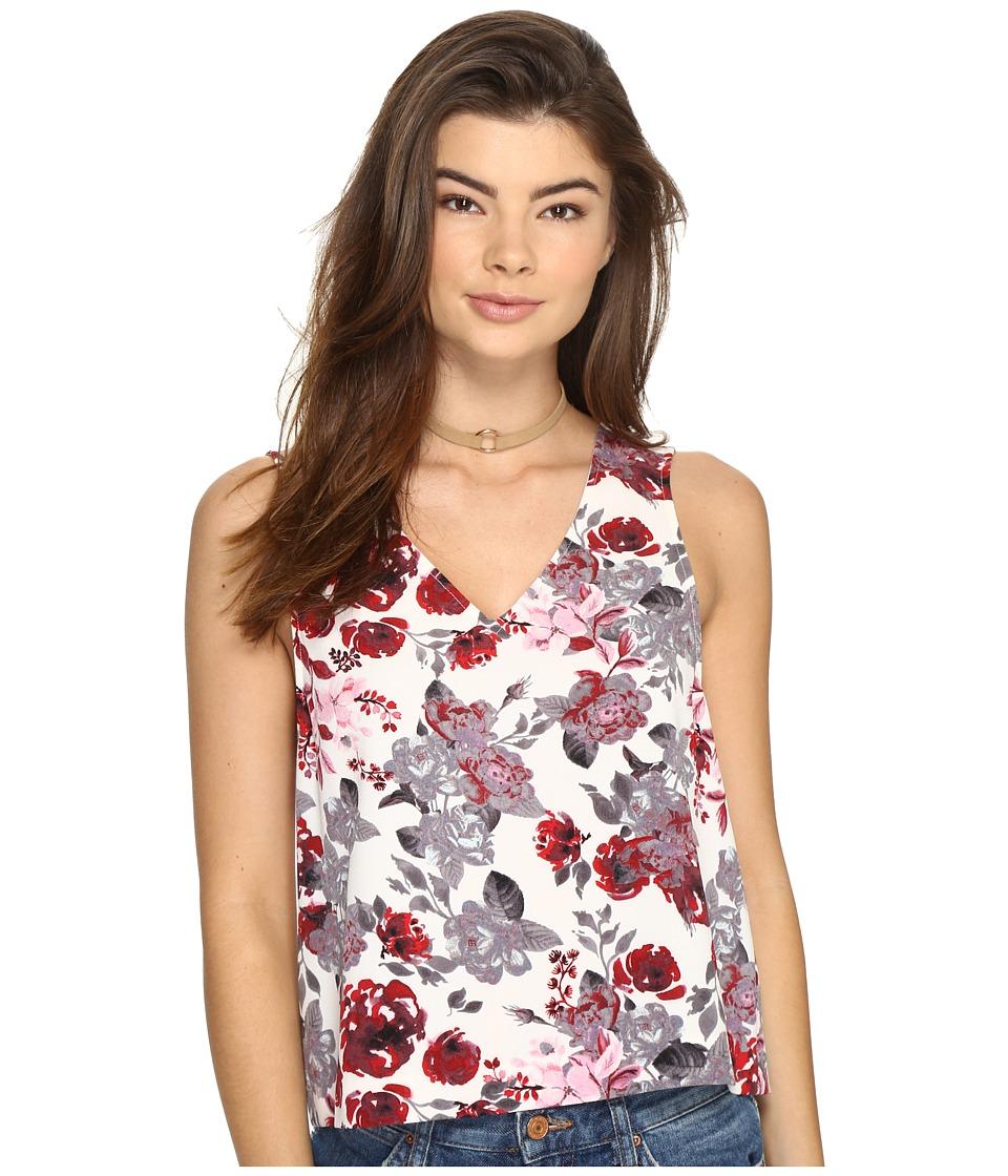 kensie - Antique Floral V-Neck Top KS2U4022 (French Vanilla Combo) Women's Clothing