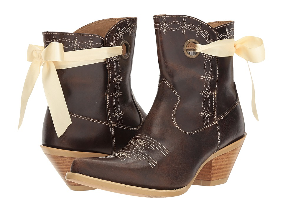 Durango Crush 7 Ribbon Bootie (Dark Brown) Cowboy Boots