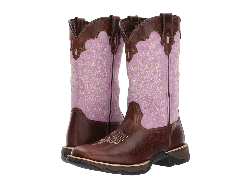 Durango Lady Rebel 11 Saddle (Dark Brown/Lavender) Cowboy Boots