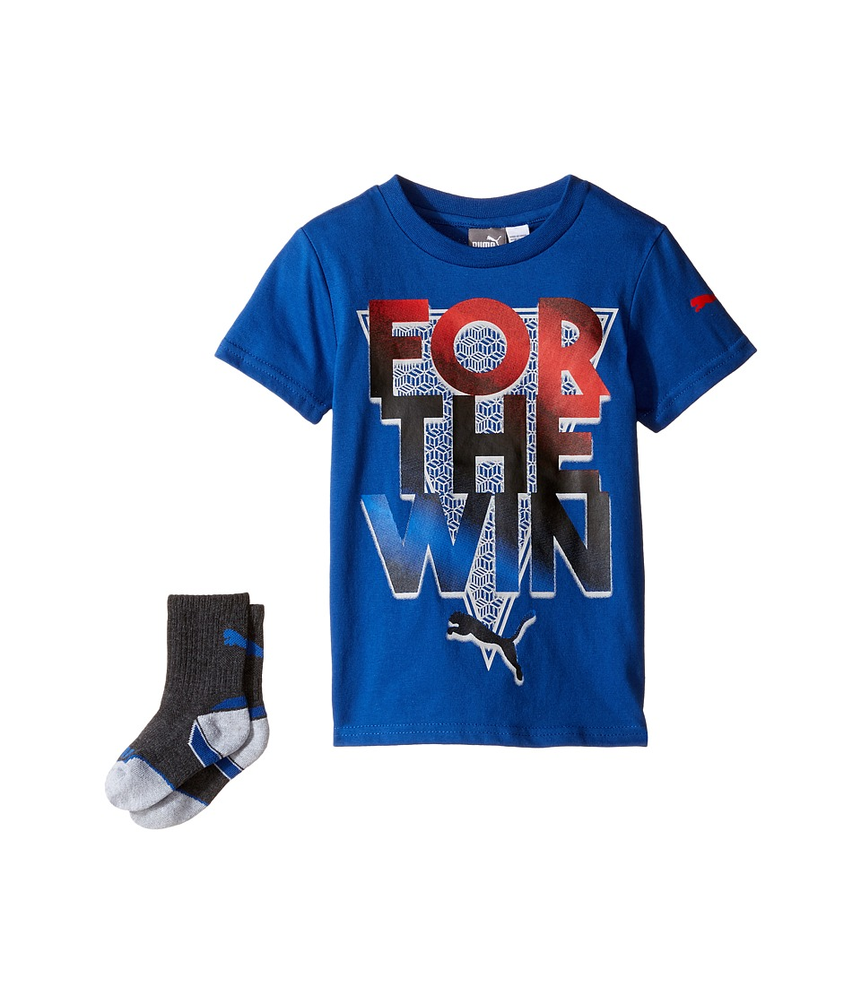 Puma Kids - Puma Graphic Tee Sock Set (Little Kids/Big Kids) (True Blue) Boy's Active Sets