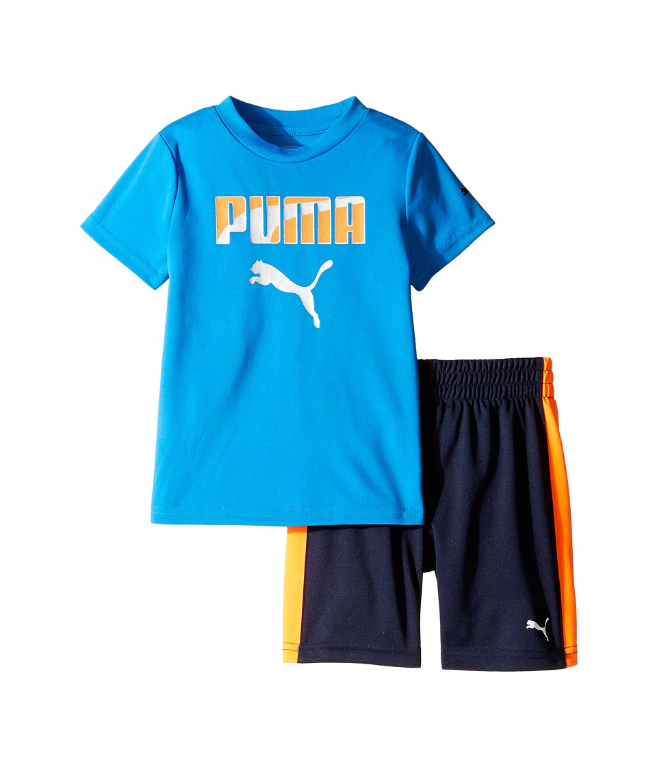 Puma Kids - PUMA Two-Piece Shorts Tee Set (Toddler) (Deep Navy) Boy's Active Sets
